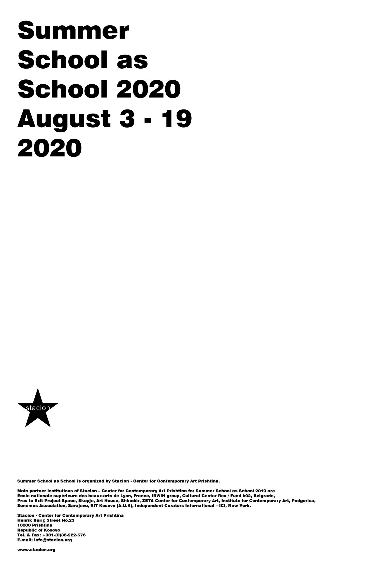 Summer School as School 2020