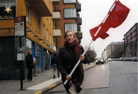 Felix Gmelin: Farbtest, Die Rote Fahne II, 2002 - Baby (revolution) comeback